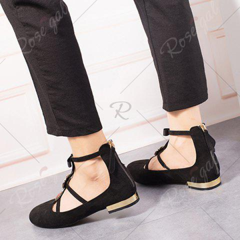 Shop Bow and Rhinestone Round Toe T-strap Flats - 39 BLACK Mobile