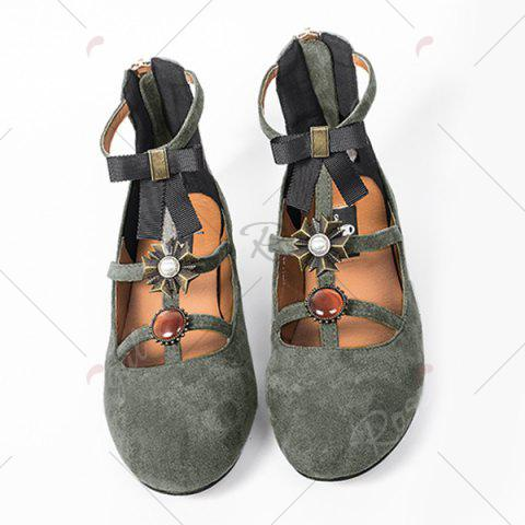 New Bow and Rhinestone Round Toe T-strap Flats - 39 GRAY Mobile