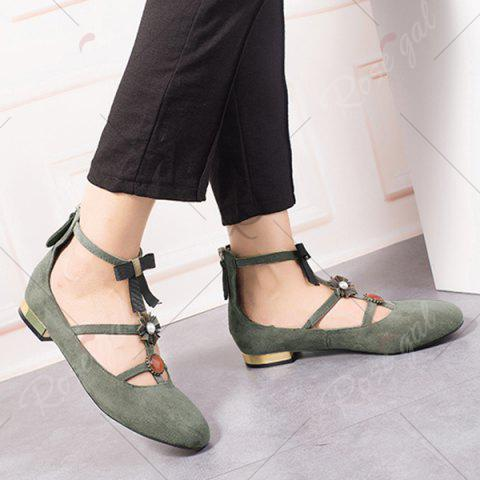 Latest Bow and Rhinestone Round Toe T-strap Flats - 39 GRAY Mobile