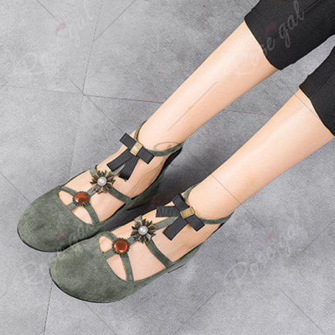 Trendy Bow and Rhinestone Round Toe T-strap Flats - 37 GRAY Mobile