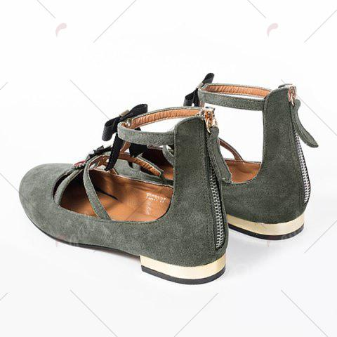 Outfit Bow and Rhinestone Round Toe T-strap Flats - 37 GRAY Mobile