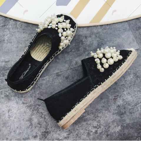 Outfits Faux Pearl Slip On Mesh Espadrille Flats - 37 BLACK Mobile