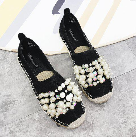 Trendy Faux Pearl Slip On Mesh Espadrille Flats - 39 BLACK Mobile