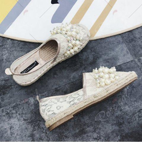 Fashion Faux Pearl Slip On Mesh Espadrille Flats - 39 APRICOT Mobile