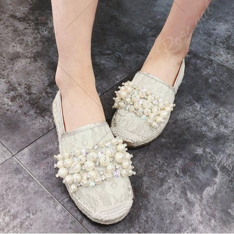 Latest Faux Pearl Slip On Mesh Espadrille Flats - 39 APRICOT Mobile