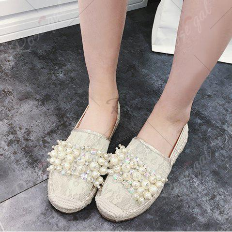 Affordable Faux Pearl Slip On Mesh Espadrille Flats - 39 APRICOT Mobile