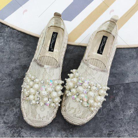 Online Faux Pearl Slip On Mesh Espadrille Flats - 38 APRICOT Mobile