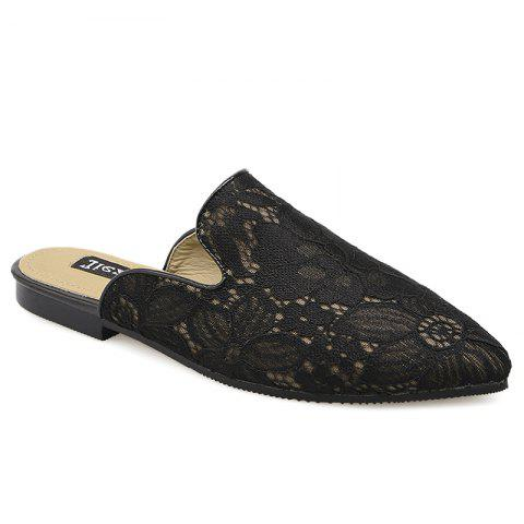 Best Point Toe Embroidery Lace Mules - 39 BLACK Mobile
