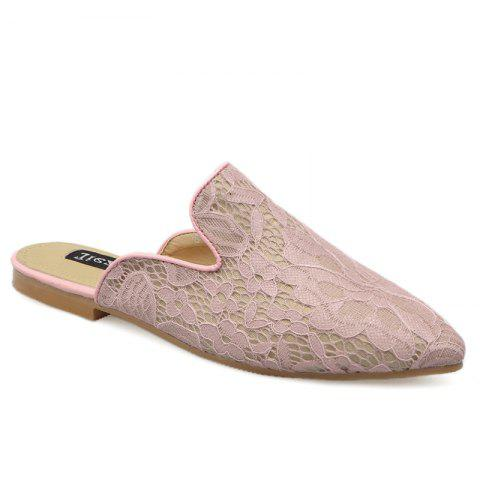 Unique Point Toe Embroidery Lace Mules - 37 LIGHT PINK Mobile