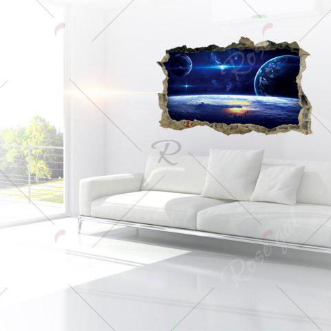 Affordable Galaxy Planets 3D Broken Wall Art Sticker For Bedroom - 45*60CM BLUE Mobile