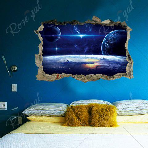 Latest Galaxy Planets 3D Broken Wall Art Sticker For Bedroom - 45*60CM BLUE Mobile