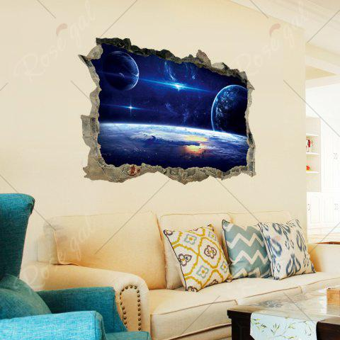 New Galaxy Planets 3D Broken Wall Art Sticker For Bedroom - 45*60CM BLUE Mobile