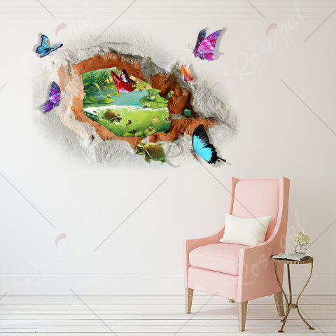 Chic Butterfly Tortoise Removable 3D Broken Wall Art Sticker - 50*70CM COLORMIX Mobile