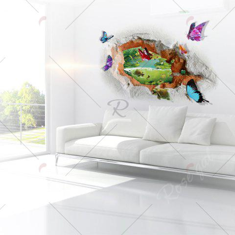 Affordable Butterfly Tortoise Removable 3D Broken Wall Art Sticker - 50*70CM COLORMIX Mobile
