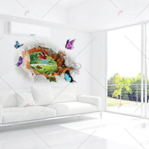 New Butterfly Tortoise Removable 3D Broken Wall Art Sticker - 50*70CM COLORMIX Mobile