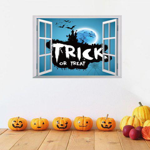 Chic Halloween Trick Or Teart Removable 3D Wall Art Sticker - 50*70CM ICE BLUE Mobile