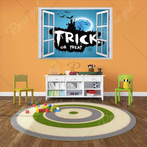 Discount Halloween Trick Or Teart Removable 3D Wall Art Sticker - 50*70CM ICE BLUE Mobile