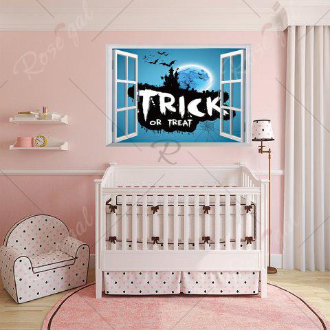 Store Halloween Trick Or Teart Removable 3D Wall Art Sticker - 50*70CM ICE BLUE Mobile