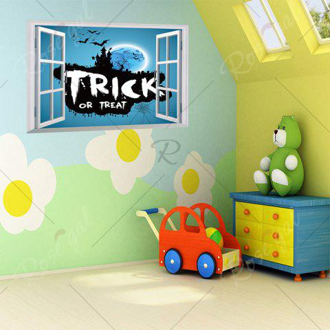 New Halloween Trick Or Teart Removable 3D Wall Art Sticker - 50*70CM ICE BLUE Mobile