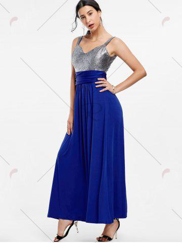 Affordable Backless Long Prom Evening Dress - S BLUE Mobile