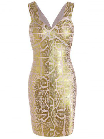 Sleeveless Glitter Sweetheart Neck Bandage Dress - Golden - L
