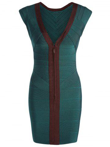 V Neck Cap Sleeve Color Block Bandage Dress - Green - L