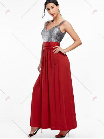 Fashion Backless Long Prom Evening Dress - 2XL WINE RED Mobile