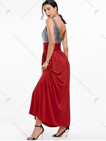 Shops Backless Long Prom Evening Dress - 2XL WINE RED Mobile