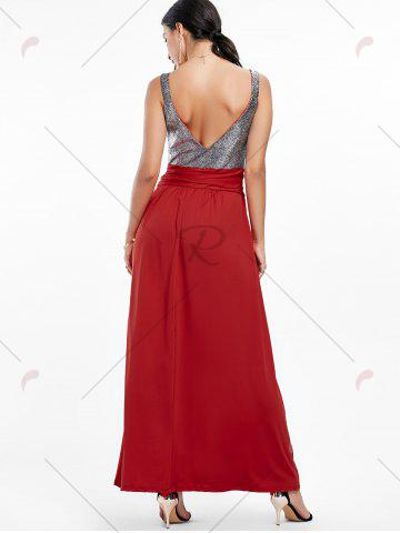 Outfit Backless Long Prom Evening Dress - 2XL WINE RED Mobile