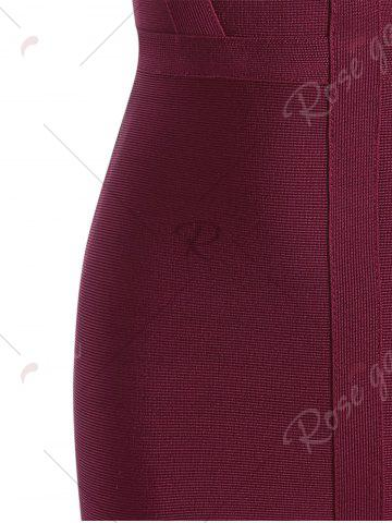 Trendy Caged Cut Out Bodycon Bandage Dress - S WINE RED Mobile