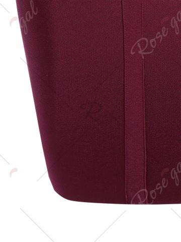 Buy Caged Cut Out Bodycon Bandage Dress - S WINE RED Mobile