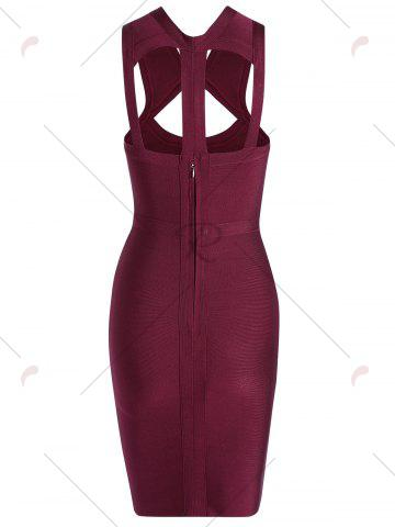 Outfits Caged Cut Out Bodycon Bandage Dress - S WINE RED Mobile