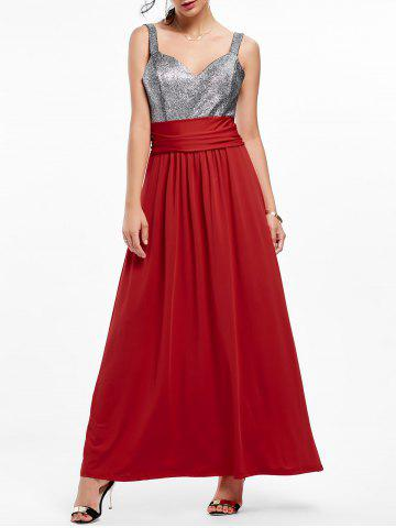 Backless Long Prom Evening Dress - Wine Red - S