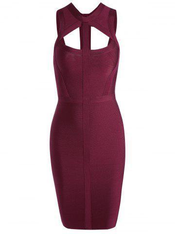Caged Cut Out Bodycon Bandage Dress - Wine Red - L