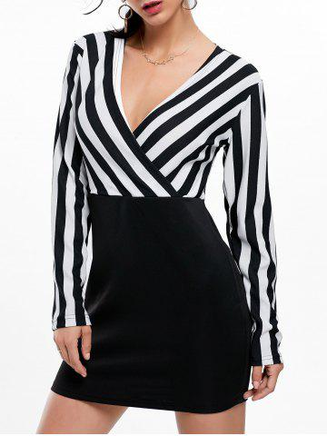Mini Surplice Striped Long Sleeve Dress - Black - Xl