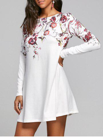 Sale Flower Print Long Sleeve T-shirt Shift Dress WHITE L