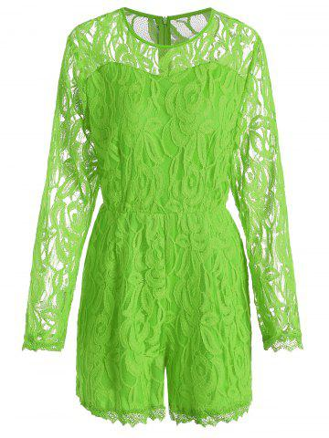 Discount Plus Size Lace Panel See Thru Romper - XL GREEN Mobile