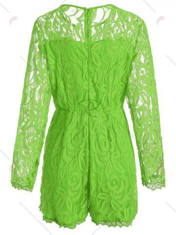 Affordable Plus Size Lace Panel See Thru Romper - XL GREEN Mobile