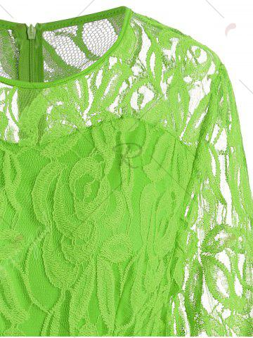 New Plus Size Lace Panel See Thru Romper - XL GREEN Mobile