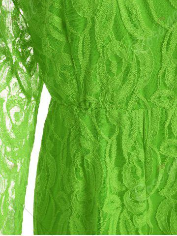 Cheap Plus Size Lace Panel See Thru Romper - XL GREEN Mobile