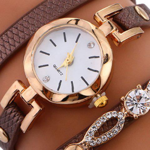 Outfits Rhinestone Faux Leather Strap Wrap Bracelet Watch - BROWN  Mobile