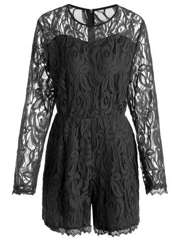 Best Plus Size Lace Panel See Thru Romper BLACK 2XL