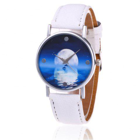 Faux Leather Strap Sea Moon Face Watch Blanc