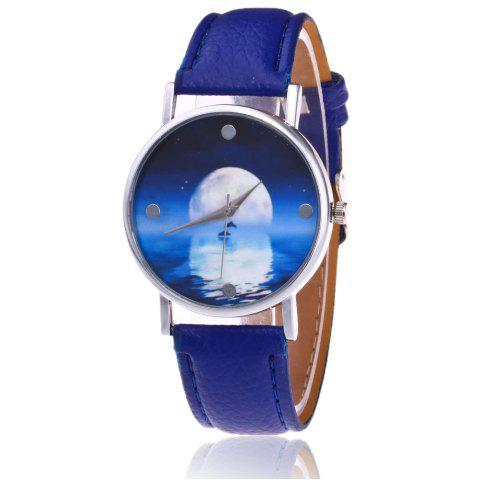Online Faux Leather Strap Sea Moon Face Watch - BLUE  Mobile