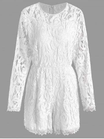 Unique Plus Size Lace Panel See Thru Romper WHITE 2XL