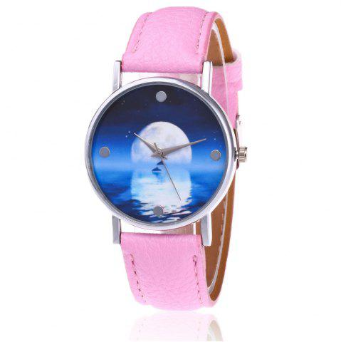 Shop Faux Leather Strap Sea Moon Face Watch PINK