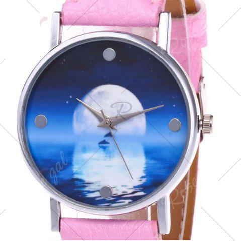 Best Faux Leather Strap Sea Moon Face Watch - PINK  Mobile
