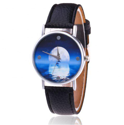 Best Faux Leather Strap Sea Moon Face Watch BLACK
