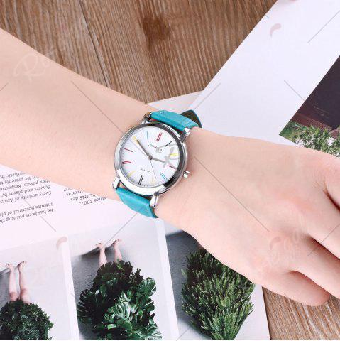Chic Faux Leather Band Round Analog Watch - GREEN  Mobile