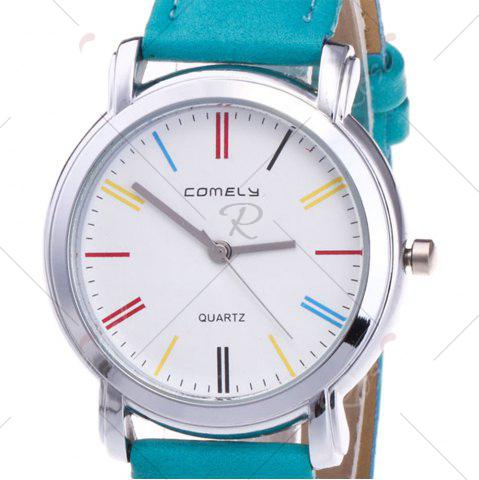 Store Faux Leather Band Round Analog Watch - GREEN  Mobile